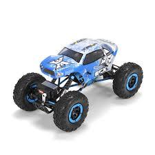 1 24 scale monster jam trucks 1 18 temper 4wd rock crawler brushed rtr blue white horizonhobby