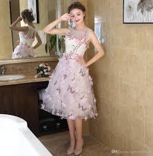 amazing short knee lenght prom dresses cheap jewel neck appliques