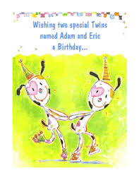 special twins greeting card happy birthday printable card