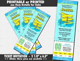 water park ticket invitation printable with printed option