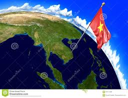 World Map Vietnam by Vietnam National Flag Marking The Country Location On World Map