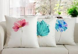 Blue Watercolor Throw Pillows For Living Room Nordic Style - Decorative pillows living room