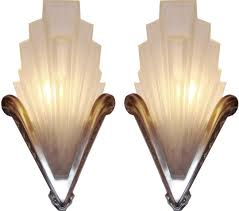 Art Deco Bathroom Light French Art Deco Geometric Frosted Glass And Nickel Sconces 2
