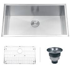 ruvati undermount stainless steel 32 in zero radius 16 gauge single bowl kitchen sink rvh7405 the home depot