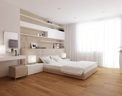 Modern Master Bedroom With White Low Profile Bed Beige Ottoman Two - Beige bedroom designs