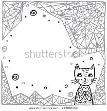 cute cat on abstract background childrens stock vector 743008189