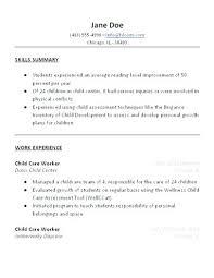 resume job descriptions child care resume sample resume job