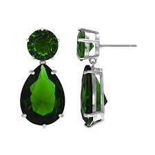 emerald drop pear drop green cz earrings