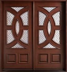brown mahogany wood entry panel door with frosted glass marvelous