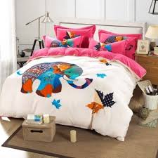 Valentina Ramos Duvet White With Pink Elephant King Queen U0026 Twin Size Duvet Cover