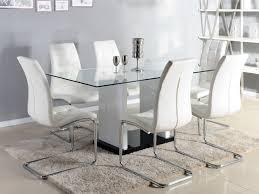table cuisine verre trempé table à manger marisa 6 couverts verre trempé et mdf laqué blanc
