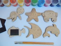 sea animals wooden cutouts easy kids crafts set coloring