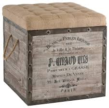 vintage style crate storage ottoman farmhouse footstools and