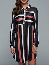 coffee m striped long sleeve shirt shift dress rosegal com