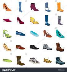 color footwear set ankle boot biker stock vector 370659515