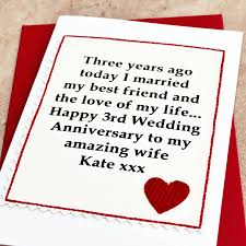 personalised 3rd wedding anniversary card by arnott cards