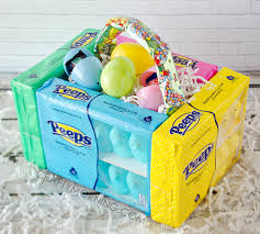 pre made easter baskets edible peeps marshmallow easter baskets crafty morning