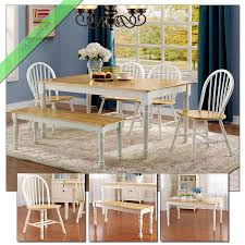 6 pc farmhouse dining room set table bench chairs country wood