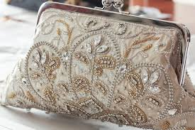 Beaded Bridal Clutch With Elegant Embroidery