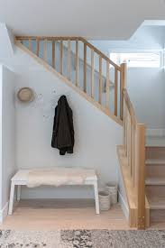 wood stair railing staircase contemporary with unique coat rack