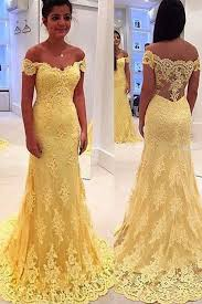 yellow lace prom dresses vintage mermaid off shoulder yellow
