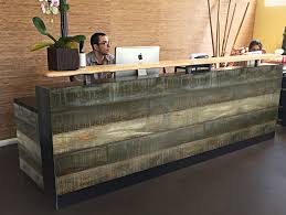 Wood Reception Desk by Buy A Hand Crafted 49 Surfside Finish Reclaimed Distressed Wood