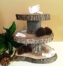treasury item 3 tier rustic wedding oak tree trunk cake stand