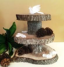 treasury item 3 tier rustic wedding oak tree trunk cake stand