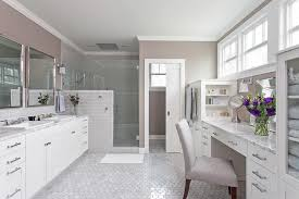 Bathroom Makeup Vanities Master Bathroom With Built In Makeup Vanity And Shelves
