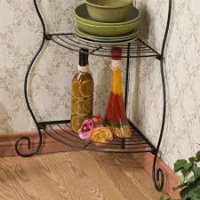 Bakers Rack Shelves Corner Bakers Rack 5 Tier Shelves With Decorative Metal Scrollwork