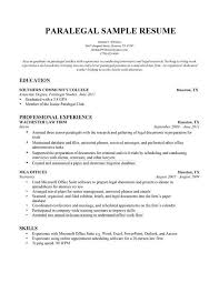 Paralegal Resume Sample by Paralegal Resume Objective Examples