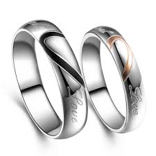 wedding ring model 2 model stainless steel silver half heart simple circle real