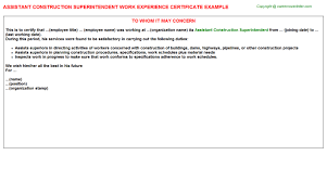 assistant construction superintendent work experience certificate