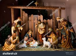 christmas manger scene figurines including jesus stock photo