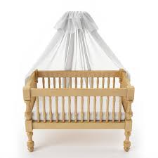 wooden baby crib with canopy isolated on white background stock