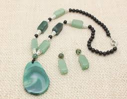 green agate necklace images High quality semi precious stone beads jewelry sets european party jpg