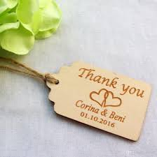 bridal shower favor tags personalized engraved thank you wedding tags wooden wedding favor