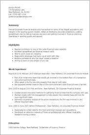 Moving Resume Sample by Professional Corporate Financial Analyst Templates To Showcase