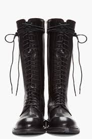 ann demeulemeester tall black leather lace up boots in black for