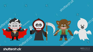 halloween character set halloween party costume stock vector