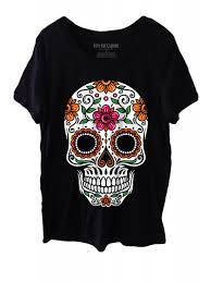 fifty5 clothing s flower sugar skull vintage fit