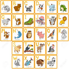 vector color zoo alphabet with animals rectangular cards