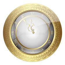 vintage wall clock with vintage ornament stock vector