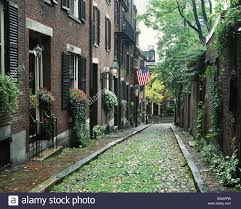 acorn street beacon hill boston facades lane houses homes stock