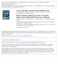 radio frequency heating of foods principles applications and