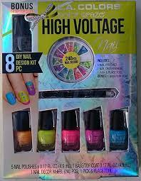 amazon com l a colors color craze nail polish set high voltage 6