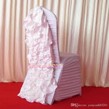Cheap Spandex Chair Covers For Sale White Ruffled Spandex Chair Cover With Satin Crush Flower In The