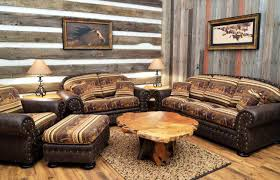 Western Leather Sofas Country Western Themed Living Room With Wood Plank Wall Plus