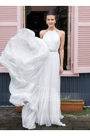 halter neck wedding dresses halter neck a line chiffon wedding dress with band