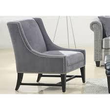 Gray Accent Chair Maddox Nailhead High Leg Accent Chair Emerald Home Furnishings